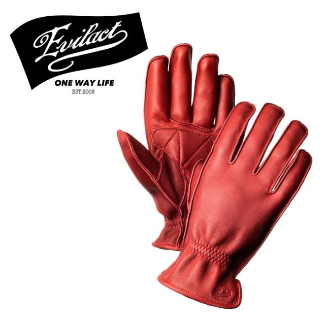 EVILACT (イーブルアクト)  MCGTS  (オイルドレザースリーシーズングローブ) red  【レザーグローブ 手袋 バイク バイカー モータ