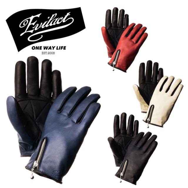 EVILACT(イーブルアクト) MCGZ (ジップアップショートグローブ) 【レザーグローブ 手袋 バイク バイカー モーターサイクル】