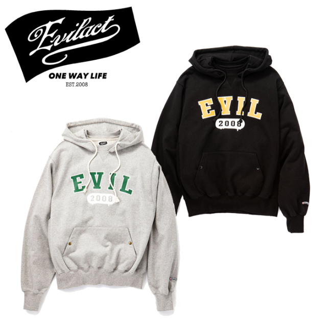 ラスト1枚!!  EVILACT (イーブルアクト)  After Hooded Sweatshirts  プルオーバー パーカー EA21-PH55 ブラック グレー インタ