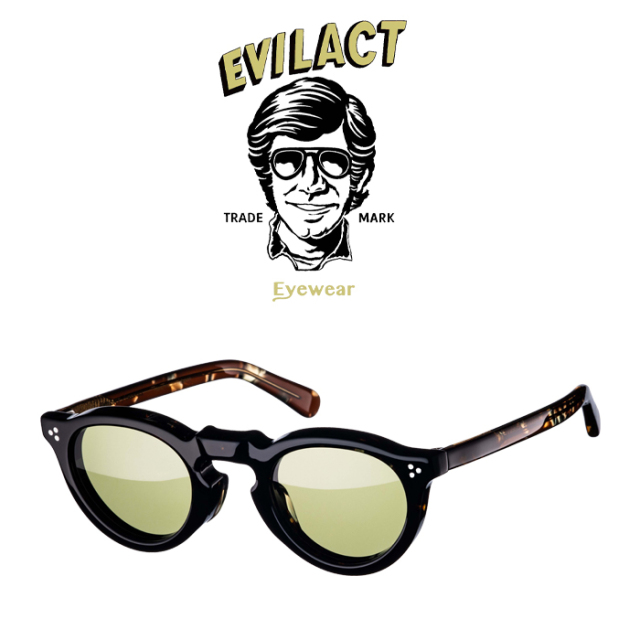 EVILACT EYEWEAR (イーブルアクトアイウエア)  GREEVES(グリーヴス)  COFFEE DEMI/COFFEE DEMI×ANTIQUE CLEAR/GREEN LENS  【サン