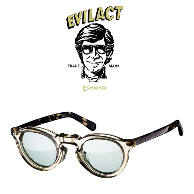 EVILACT EYEWEAR (イーブルアクトアイウエア)  GREEVES(グリーヴス)  ANTIQUE CLEAR/DARK CREAM DEMI/GREEN LENS  【サングラス メ
