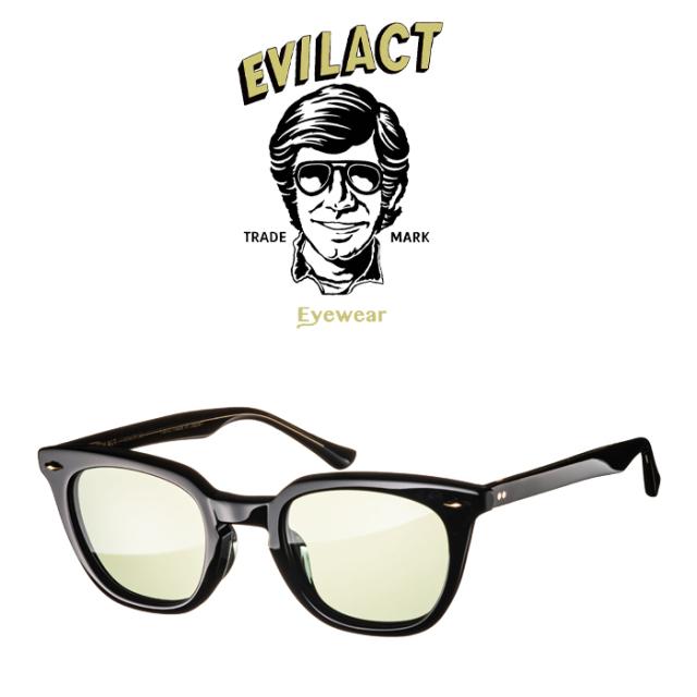 EVILACT EYEWEAR (イーブルアクトアイウエア)  MERKEL(マーケル) BLACK/BLACK×ANTIQUE CLEAR/GREEN LENS  【サングラス メガネ】【