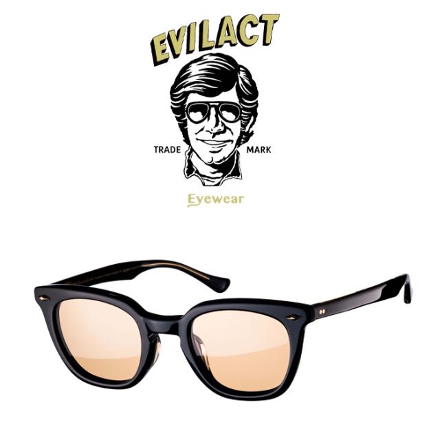 EVILACT EYEWEAR (イーブルアクトアイウエア)  MERKEL(マーケル) BLACK/BLACK×ANTIQUE CLEAR/BROWN LENS  【サングラス メガネ】【