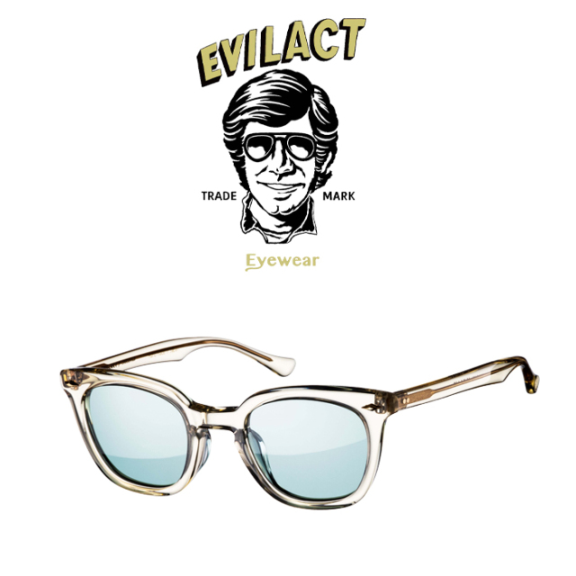 EVILACT EYEWEAR (イーブルアクトアイウエア)  MERKEL(マーケル) ANTIQUE CLEAR/GREEN LENS  【サングラス メガネ】【EAE21-08MERK