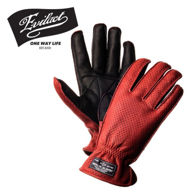 EVILACT(イーブルアクト) MCGTP (オイルドレザーパンチンググローブ) red×black 【レザーグローブ 手袋 バイク バイカー】