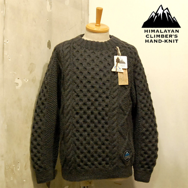 HIMALAYAN CLIMBER'S HAND-KNIT Hand Knit Cable Crew Neck 【ハンドニット クルーネック セーター】【キャンセル不可】【HCK-F3】