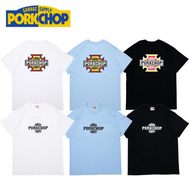 PORKCHOP GARAGE SUPPLY (ポークチョップ ガレージサプライ)  BAR&SHIELD TEE 【プリント Tシャツ】【ポークチョップ Tシャツ】【