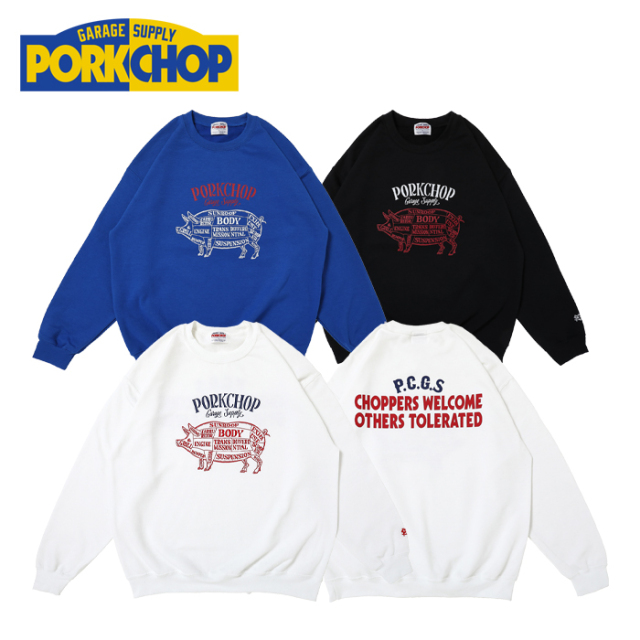 PORKCHOP GARAGE SUPPLY(ポークチョップ ガレージサプライ) CHOPPERS WELCOME SWEAT 【クルーネックスウェット】【ホワイト ブルー
