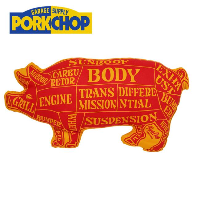PORKCHOP GARAGE SUPPLY(ポークチョップ ガレージサプライ) PORK CUSHION(RED×ORG) 【クッション】