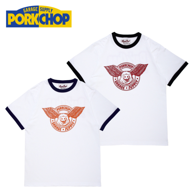PORKCHOP GARAGE SUPPLY(ポークチョップ ガレージサプライ) WING PORK RINGER TEE 【プリント Tシャツ 半袖】