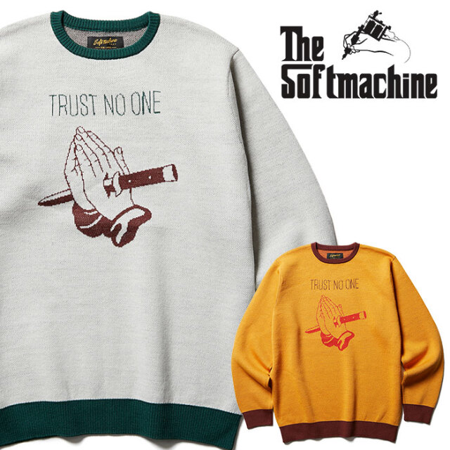 SOFTMACHINE(ソフトマシーン)  NO TRUST SWEATER 【ニット セーター】【ベージュ マスタード タトゥー】【2020AUTUMN&WINTER新作】