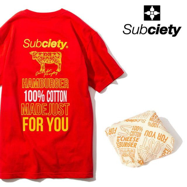 SUBCIETY(サブサエティ) HAMBURGER S/S 【2020SPRING先行予約】 【キャンセル不可】【102-40513】【Tシャツ】