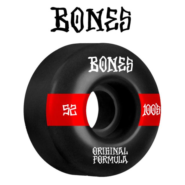 BONESWHEELS(ボーンズウィール) BONES OG FORMULA 100S 52mm V4 WIDE 100A BLACK 【ボーンズ スケートボード スケボー パーツ ウィ