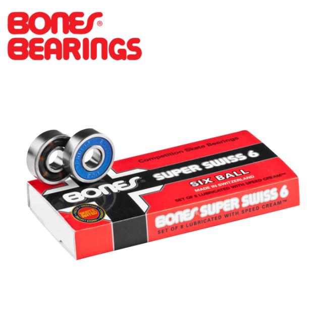 BONES BEARING (ボーンズベアリング) SUPER SWISS 6 SKATEBOARD BEARINGS 8 PACK 【ボーンズ ボーンズベアリング】【スケートボー