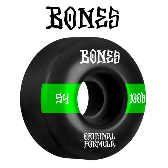 BONESWHEELS(ボーンズウィール) BONES OG FORMULA 100S 54mm V4 WIDE 100A BLACK 【ボーンズ スケートボード スケボー パーツ ウィ