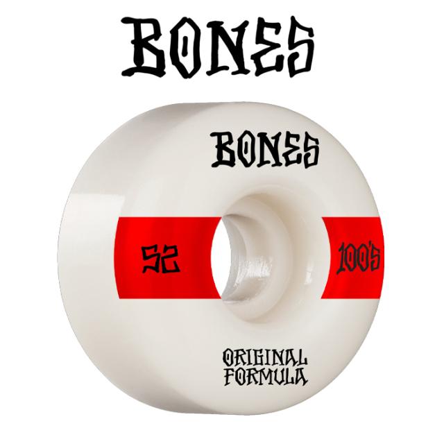 BONESWHEELS(ボーンズウィール) BONES OG FORMULA 100S 52mm V4 WIDE 100A WHITE 【ボーンズ スケートボード スケボー パーツ ウィ