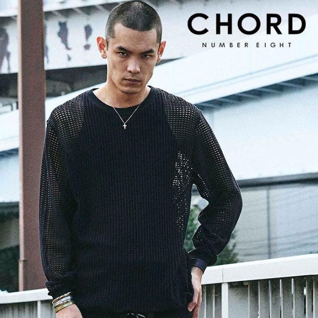 CHORD NUMBER EIGHT(コードナンバーエイト) MESH LONG SLEEVE CUTSEW 【メッシュ カットソー 長袖】【ブラック ホワイト】【CH01-0