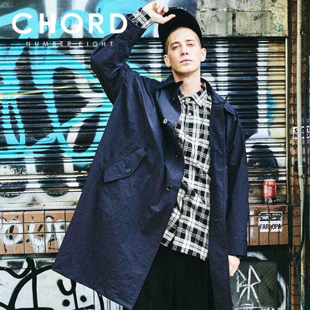 CHORD NUMBER EIGHT(コードナンバーエイト) NYLON MAX COAT 【ナイロンコート イカコート】【ブラック グリーン おしゃれ 人気】【