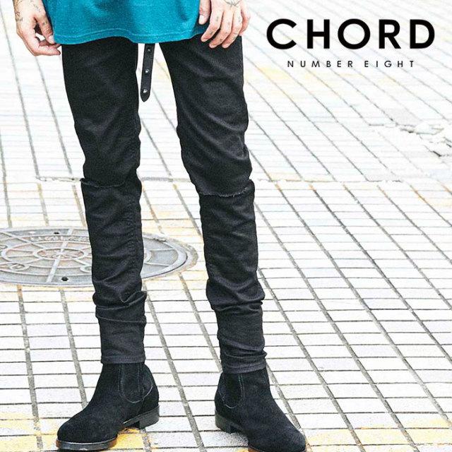 CHORD NUMBER EIGHT(コードナンバーエイト) RIPPED BLACK SKINNY PANTS 【スキニーパンツ】【ブラック おしゃれ 人気】【CH01-02L1