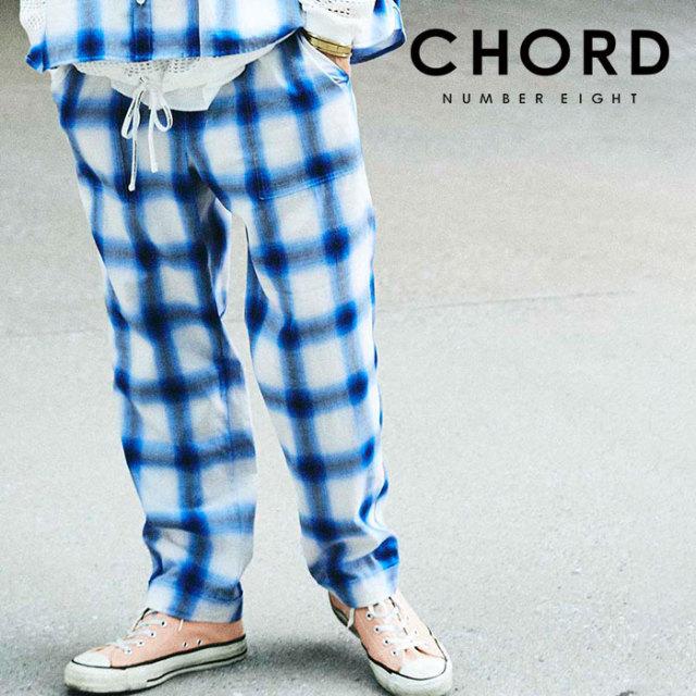 CHORD NUMBER EIGHT(コードナンバーエイト) OMBRE CHECK PANTS 【チェックパンツ パジャマ】【ブラック ブルー おしゃれ 人気】【C