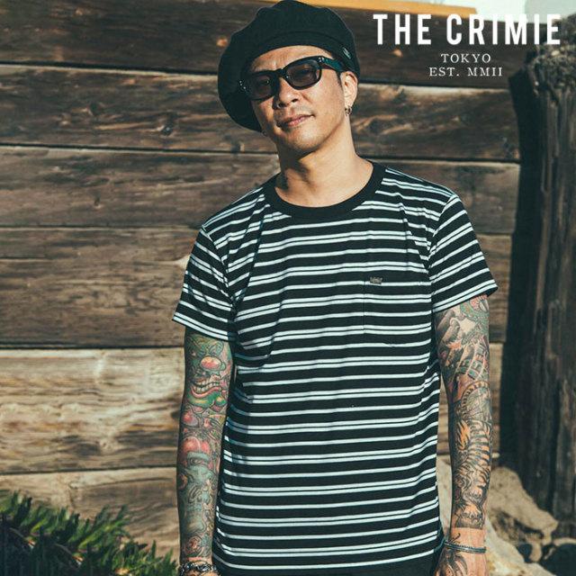 CRIMIE(クライミー) BORDER POCKET T-SHIRT(BLACK/WHITE) 【ボーダーポケットTシャツ】【ブラック オレンジ アメカジ ミリタリー】