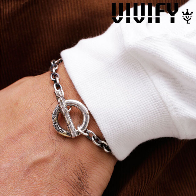 VIVIFY(ヴィヴィファイ)(ビビファイ) Arabesque T-Bar Chain Bracelet w/gold 【VIVIFY ブレスレット】【VFB-168】【メンズ レディ