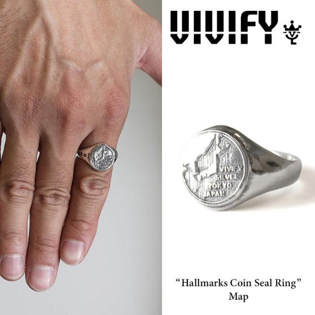 VIVIFY(ヴィヴィファイ) Hallmarks Coin Seal Ring /Map 【2016 2nd EXHIBITION 先行予約】 【キャンセル不可】【送料無料】 【