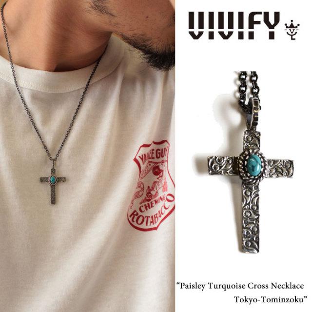 【2015 2nd EXHIBITION 先行予約】 VIVIFY(ヴィヴィファイ) Paisley Turquoise Cross Necklace/Tokyo-Tominzoku 【キャンセル不
