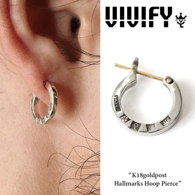 VIVIFY(ヴィヴィファイ) K18goldpost Hallmarks Hoop Pierce 【2016 2nd EXHIBITION 先行予約】 【キャンセル不可】 【職人の完