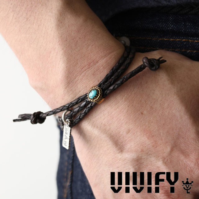 VIVIFY(ヴィヴィファイ) A MAN of ULTRA Old Native Style Stone Setting Round Braid Bracelet 【予約商品】【キャンセル不可】