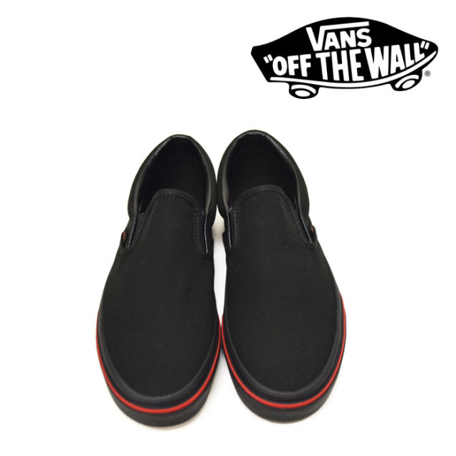 【VANS(バンズ)】 CLASSIC SLIP-ON (FLAME WALL) BLACK/BLACK 【即発送可能】 【VANS スニーカー】 【VN0A38F7Q8Q】