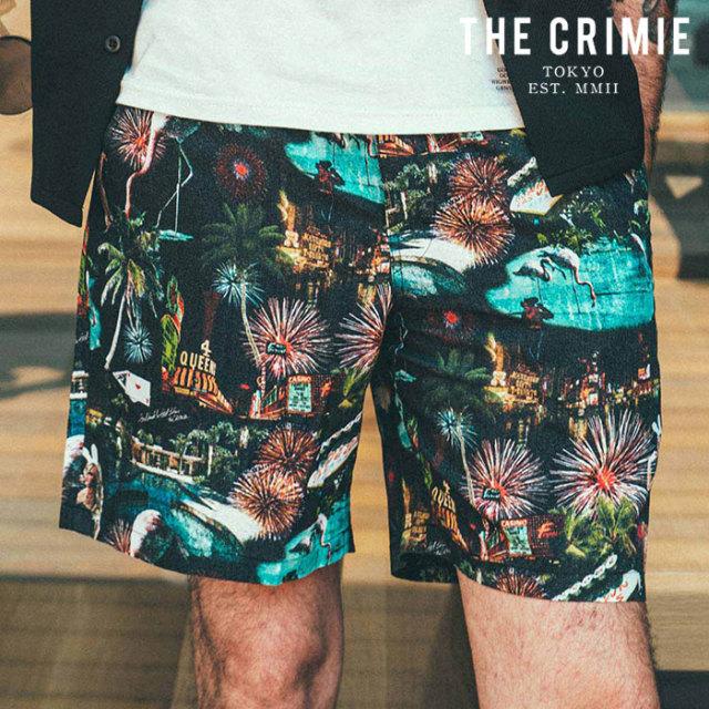 CRIMIE(クライミー) LAS VEGAS ALOHA SHORT 【レーヨン ショートパンツ 短パン】【ブラック ホワイト アメカジ ミリタリー】【シン