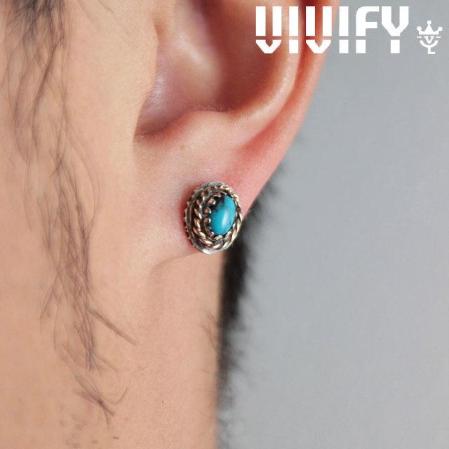 VIVIFY(ヴィヴィファイ)(ビビファイ) K18goldpost Old Native Style Stone Setting Pierce/k18gold RopeDeco 【VIVIFY ピアス】【V