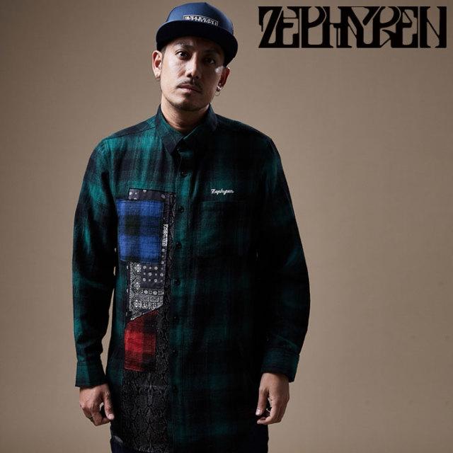 ZEPHYREN(ゼファレン) DAMEGE SHIRT L/S   【チェックシャツ 長袖】【Z20PD10】 【2020SPRING&SUMMER先行予約】【キャンセル不可