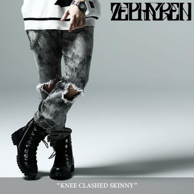 ZEPHYREN(ゼファレン) KNEE CLASHED SKINNY 【2018SUMMER先行予約】 【キャンセル不可】 【Z17PQ01】