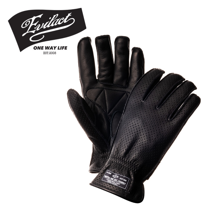 EVILACT(イーブルアクト) MCGTP (オイルドレザーパンチンググローブ) black 【レザーグローブ 手袋 バイク バイカー】