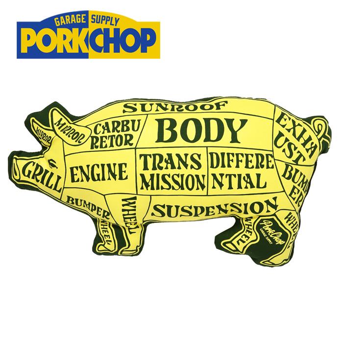 PORKCHOP GARAGE SUPPLY(ポークチョップ ガレージサプライ) PORK CUSHION(YEL×DKGR) 【クッション】