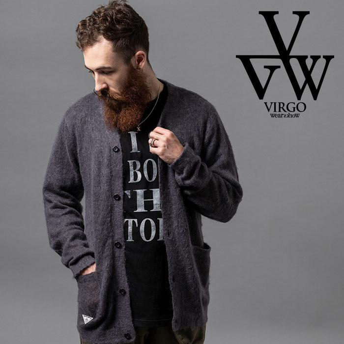 VIRGO ヴァルゴ バルゴ KURT MOHAIR CARDIGAN 【ニットカーディガン モヘア ブラック グレー】【VG-KNIT-85】【2020AUTUMN&WINTER