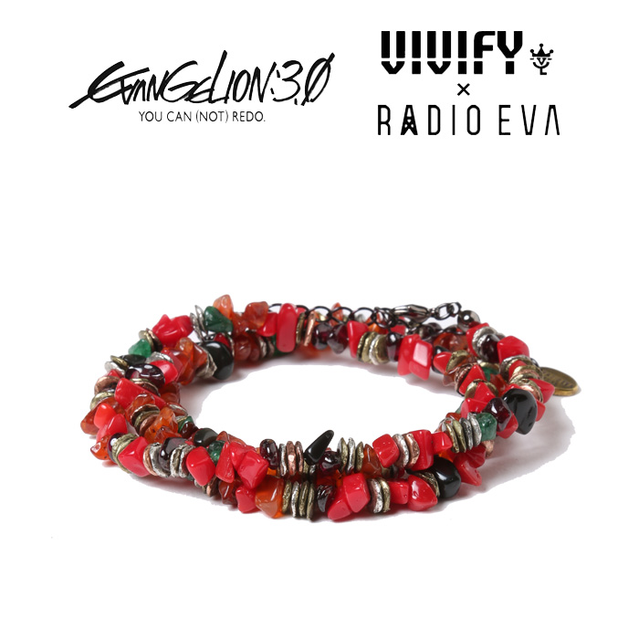 VIVIFY x RADIO EVA Pebble &Metal Chip's Beads Cord/式波・アスカ・ラングレー 【エヴァンゲリオン 公式アクセサリー】【evange