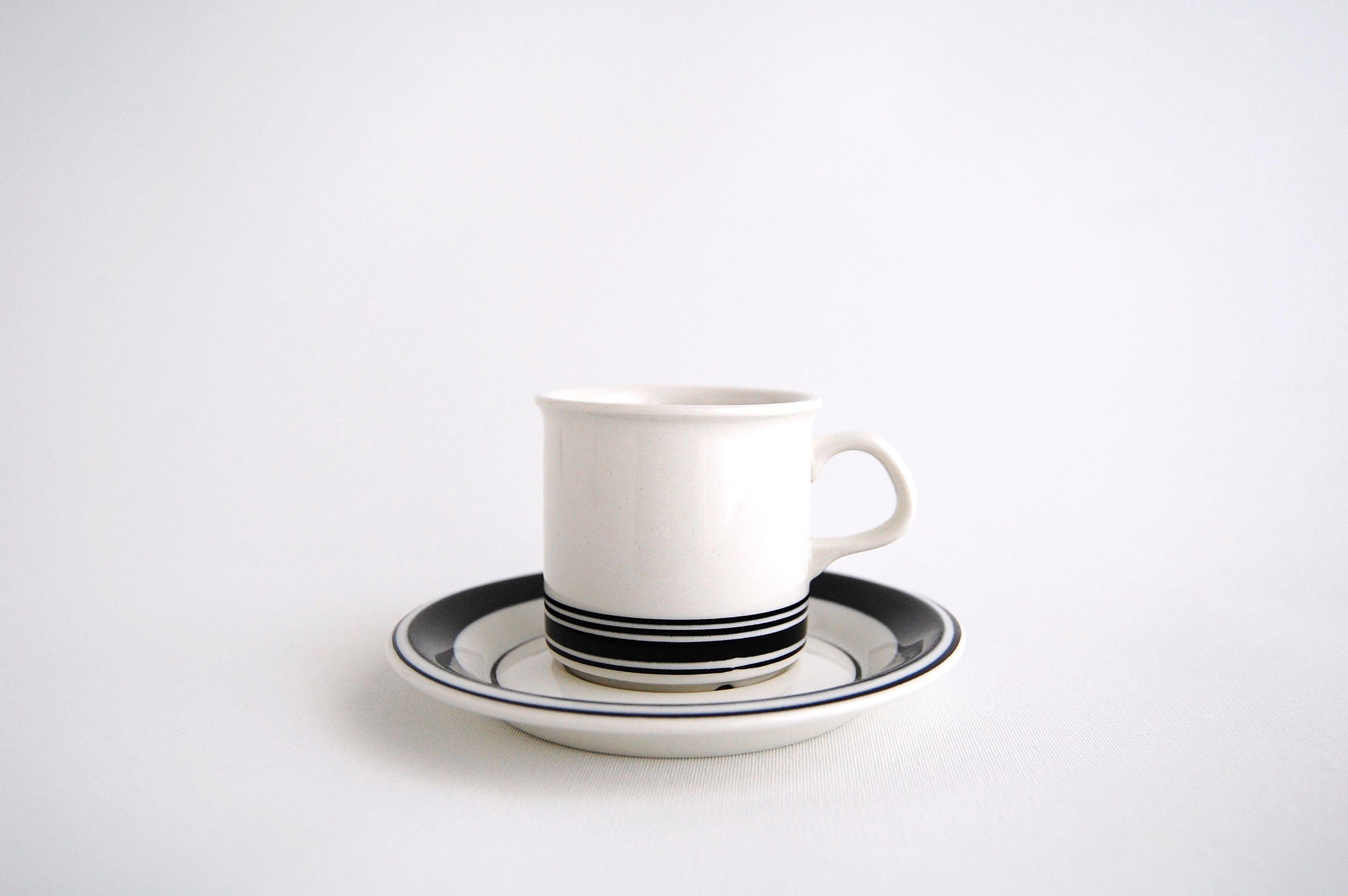 ARABIA/アラビア Faenza/ファエンツァ コーヒーカップ&ソーサー ブラックライン 002