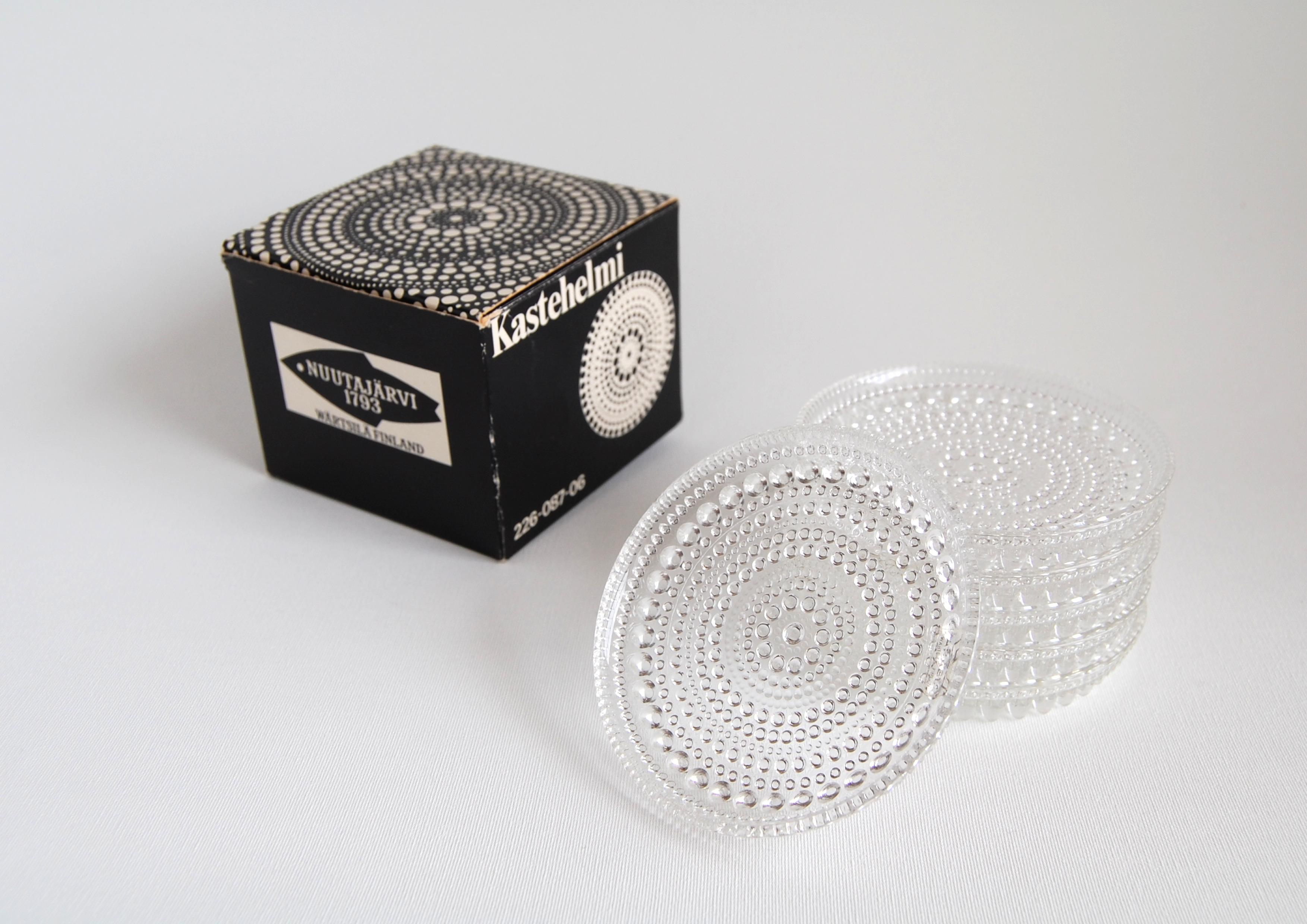 Nuutajarvi/ヌータヤルヴィ Arabia/アラビア Kastehelmi/カステヘルミ 8.5cmプレート 6枚セット 箱付き