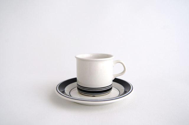 ARABIA/アラビア Faenza/ファエンツァ コーヒーカップ&ソーサー ブラックライン 001