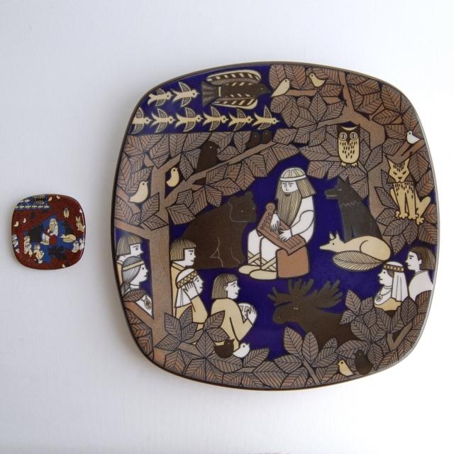 ARABIA/アラビア Kalevala/カレワラ 150周年記念プレート(箱付き)+ARABIA工場来場者向けミニプレートセット
