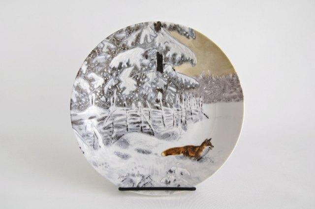 Rorstrand/ロールストランド 1988年 イヤープレート ögonblick i naturen by Harald Wiberg 「Rav i vinterny」001