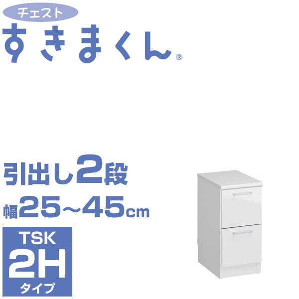 チェストすきまくん TSK-2H 幅25-45cm 引出し2段 隙間収納