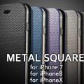 METAL SQUARE DIARY iPhoneX iPhone8 iPhone7 メタリック 手帳型 ケース iPhone X 8 7 アイフォン7 アイフォン 手帳 手帳型ケース ブランド スマホケース カバー バンパー おしゃれ 耐衝撃 iPhone8ケース アイフォン8 iPhone7ケース ブラック ストラップ ストラップホール