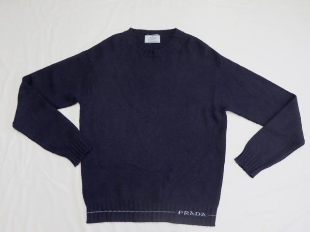 〇新着【PRADA プラダ】長袖 カシミヤ100% ニット セーター サイズ38 ネイビー イタリア製 レディース 10152-0
