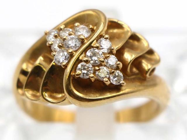 ☆新着 値下げ【K18YG イエローゴールド】 指輪 リング ダイヤモンド0.31ct 5.9g 9.5号 レディース 11170-0
