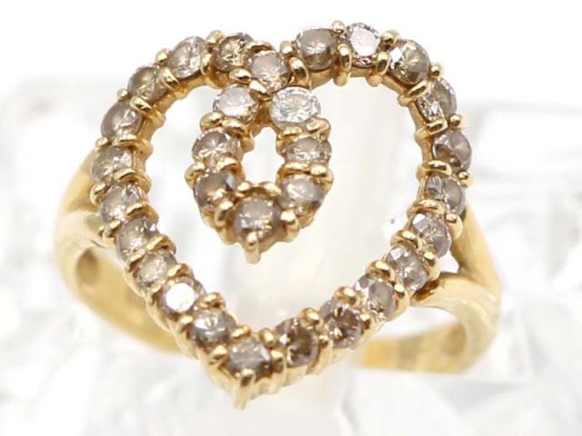 ☆新着【K18YG イエローゴールド】 指輪 リング ダイヤモンド1.00ct 3.7g 11号 レディース 11201-0