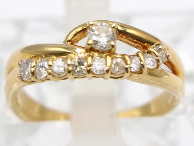 ☆新着【K18YG イエローゴールド】 指輪 リング ダイヤモンド0.50ct 3.5g 11号 レディース 11210-0